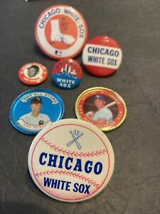 1960's-70's  ALL CHICAGO WHITE SOX~LOT OF 7 PINS & PLAYER COUNS W/APARICIO~CHIPS