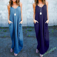 Plus Size Women Boho Maxi Dress Irregular Sleeveless Party Casual Beach Dress