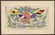 """Embroidered Silk Postcard & Insert. """"To My Dear Sister"""" Lucky Horseshoe & Flags"""