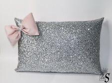 Silver Glitter, Dusty pink 3D Bow, Cushion.
