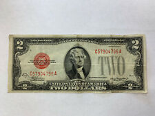 VINTAGE 1928D $2 UNITED STATES NOTE TWO DOLLAR BILL JEFFERSON RED SEAL DOLLARS