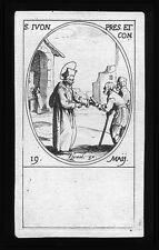 santino incisione 1600 S.IVO DI BRETAGNA  j.callot