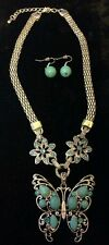 ROYAL BALI TURQUOISE BUTTERFLY NECKLACE/ WITH EARRINGS ALL HAND MADE
