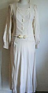 Vintage 1970s cream acrylic knit dress wide bishop sleeve slinky shape Size 12