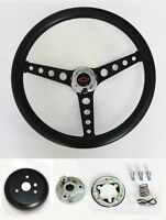 "1964-1966 Nova Chevelle Impala Black on Black Steering Wheel 14 1/2"" Red/Blk"