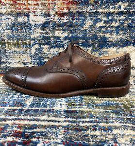 Allen Edmonds Rogue Brown Leather Cap Toe Brogue Dress Oxfords Size 10.5 3E EEE