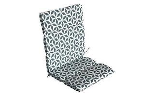 Garden Chair Sofa Geometric Print Full Back & Base Cushion Pair