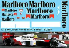 1/18 McLaren Honda MP4/5 F1 Ayrton Senna 1989 Decals TB Decal TBD255