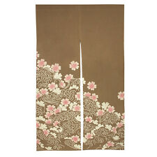 "Japanese Noren 33.5"" x 59"" 2-Panel Doorway Curtain Sakura Wave, Made in Japan"