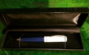 Delta Grande Journal Twist Roller Pen, Italy, Navy/White, silver trim, Numbered