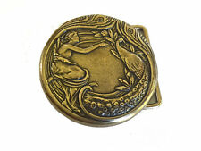 Vintage Peacock Woman Belt Buckle Art Deco Feather Art Nouveau Bird Bust Women's