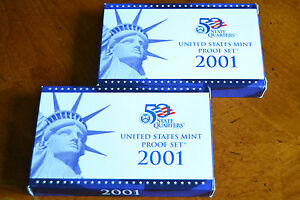 2001 US MINT PROOF SET w/STATE QUARTERS & COA 10 COINS in US Mint package w/COA