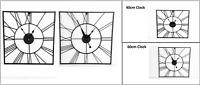 40cm/60cm Metal Roman Numeral Wall Clocks Garden/Outdoor Square Open Face Clock