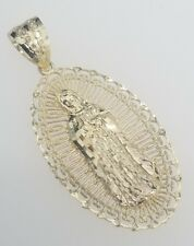 Real 10k Yellow Gold Virgin Mary Lady Guadalupe Filigree Oval Charm Pendant
