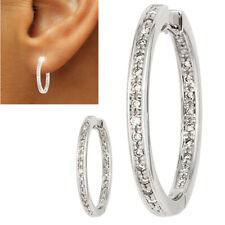 Creolen rund 585 echt Weißgold Ohrringe Diamanten innen außen 0,25 ct. 24 mm neu