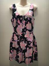 Mambo Black Pastels Sleeveless Scoop Neck Stretch Tank Dress Size 16 Fit 12 14