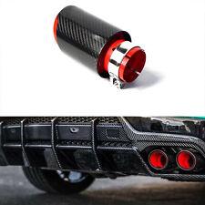 "Car Exhaust Tip Muffler Pipe Red Steel Black Carbon Fiber 2.5"" Inlet Universal"