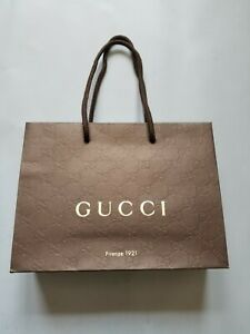 LOT OF 5 GUCCI FIRENZE 1921 BROWN GUCCISSIMA PAPER GIFT SHOPPING BAGS