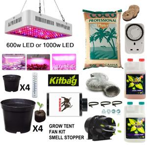 Complete 600w 1000w Led Grow Kit Set Up indoors hydroponics Light = No Grow Tent