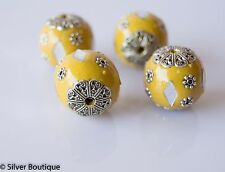 4  Yellow Indonesian Beads, Yellow Crystals, Bali Accents Handmade 18mm