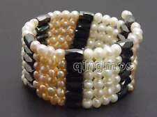 SALE 5-6mm Round Pink and White Natural Pearl & Black Hematite 38'' Bracelet-366