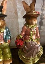 Easter Bunny Rabbit Girl Figurine Bunny Chocolate Basket Eggs Home Decor