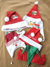 New Christmas Lot Of 5 Santa Claus Hats Caps Elf Hat Whole Family Sizes