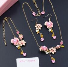 Betsey Johnson Flower Sets Fashion Rare Crystal Enamel Earring Necklace Bracelet