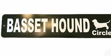Basset Hound Circle Road Street Sign Dog Gift Decor Fence Plaque