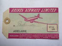 GUINEA AIRWAYS Ltd LUGGAGE TAG to ADELAIDE SOUTH AUSTRALIA UNUSED c1950s