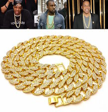Mens Iced Out 14K Yellow Gold Finish Rapper's Miami Cuban Link Chain Necklace