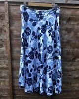 Hobbs London Midi Floral Skirt %100 Linen Navy Blue White Ditsy Flare Size UK 16