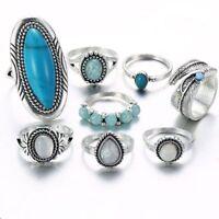 8 Teile / satz Versilberter Türkis Opal Ring Set Natürlicher Edelstein Ring