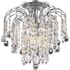 CRYSTAL FLUSH MOUNT CHANDELIER CEILING LIGHTING LAMP BEDROOM FIXTURE 3 LIGHT 12