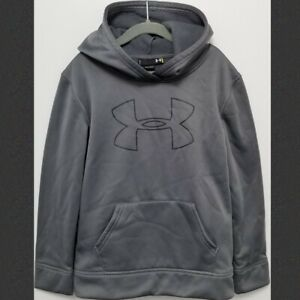 Under Armour Kids Size 7 Silver Gray Logo Hoodie Hooded Sweater NwoT