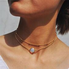 Crystal Pendant Choker Necklace Multi-layer Bead Boho Gold Short Chain  LJ