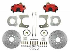 1984-06 Jeep Rear Disc Brake Conversion Kit (drilled & slotted; red calipers)