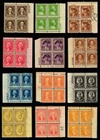 704-715 Plate Blocks  Mint, o,g., Never Hinged (cv$396.70)