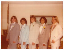Vintage 70s PHOTO Group Prom Boys Guys In Tuxedos