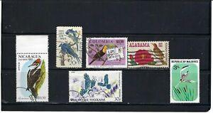 BIRDS OF -NICARAGUA.- U.S. COLOMBIA.- TOGO.- MALDIVES>    LOT OF 6