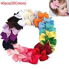 40pcs Kids Girls Boutique Hair Bows Alligator Clip Grosgrain Ribbon Hair Clips