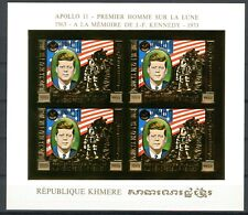 Cambodge KENNEDY Space Espace APOLLO 11 1974 Gold foil Or MICHEL 386 B RARE !!