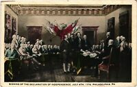 Vintage Postcard - Signing Of The Declaration Of Independence 1776 #1782