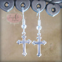 Small Cross Crucifix Religious Christian Dangle Drop Earrings. Silver or Gold