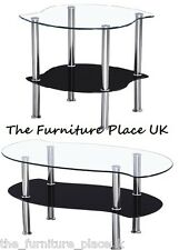Colby Coffee Table OR Lamp Table In Clear and Black Glass With Chrome Legs