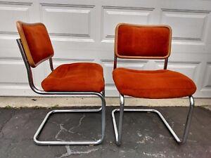 Mid Century Vintage Set of 2 Orange Wood Chrome Tubular Cantilever DIning Chairs