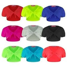 GIRLS CROPPED SHRUG KIDS TIE UP FRONT BOLERO SHORT CAP SLEEVE TOP SIZES 1-14Y