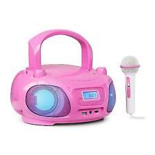 Portable Boombox FM Radio CD Player Bluetooth Mp3 USB Microphone Karaoke Pink