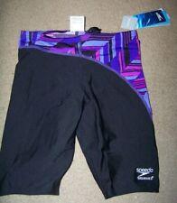 NWT Speedo Endurance+ Angles Jammer Swimsuit Size 26 ~ Black Purple ~ Swim ~