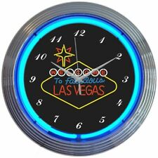 "Welcome to Las Vegas Sign Blue Neon Hanging Wall Clock 15"" Diameter 8VEGSN"
